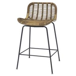 Palecek Sydney Coastal Beach Rattan Frame Metal Base Counter Barstool - 24''