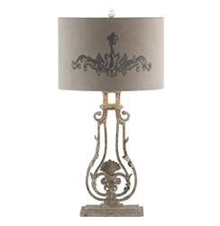 Pair Viottoria Lute Shade Base Iron French Manor Table Lamp | AG-L66