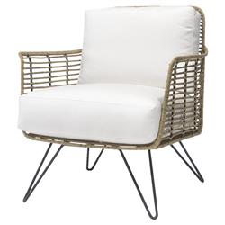 Palecek Hermosa Coastal Beach Metal Frame Cushioned Seat Outdoor Lounge Chair