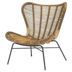Palecek Sydney Coastal Beach Pole Rattan Frame Metal Base Butterfly Chair