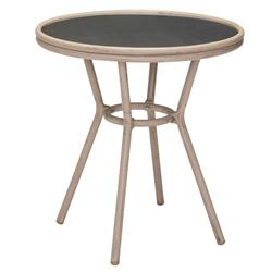 Marais French Country Glass Faux Bamboo Round Outdoor Bistro Table