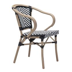 Francois French Country Faux Bamboo Black and White Outdoor Bistro Arm Chair