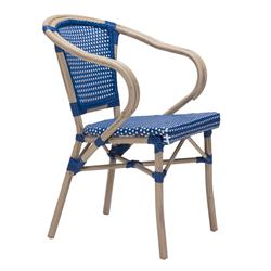 Francois French Country Faux Bamboo Navy and White Outdoor Bistro Arm Chair