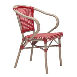 Francois French Country Faux Bamboo Red and White Outdoor Bistro Arm Chair
