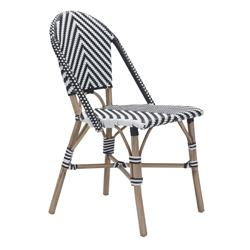 Francois French Country Faux Bamboo Black and White Outdoor Bistro Side Chair