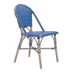 Francois French Country Faux Bamboo Navy and White Outdoor Bistro Side Chair