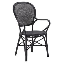 Lydia French Country Black Rattan Dining Arm Chair
