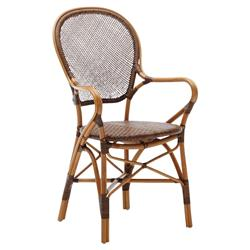 Lydia French Country Cherry Rattan Dining Arm Chair