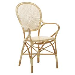 Lydia French Country Natural Rattan Dining Arm Chair