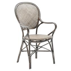 Lydia French Country Grey Rattan Dining Arm Chair