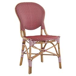 Mariam French Country Rattan Red Outdoor Dining Side Chair
