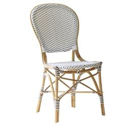 Mariam French Country Rattan White Outdoor Dining Side Chair
