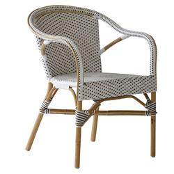 Ariella French Country Rattan White Outdoor Dining Arm Chair