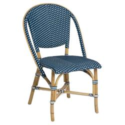 Gene Coastal Beach Navy Blue and White Woven Rattan Outdoor Side Chair