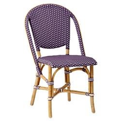 Selene French Country Purple Rattan Outdoor Dining Side Chair