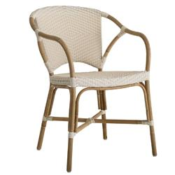 Delaney French Country Rattan Ivory Outdoor Dining Arm Chair