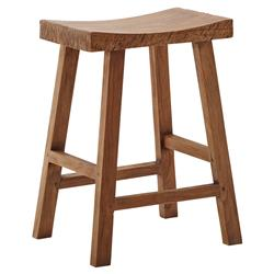 Adalyn Rustic Lodge Brown Reclaimed Teak Counter Stool