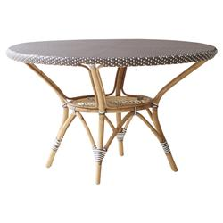 Esther French Country Brown Rattan Round Outdoor Dining Table