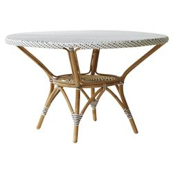 Esther French Country White Rattan Round Outdoor Dining Table