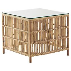 Sydney Coastal Beach Natural Rattan Glass Top Square SideTable