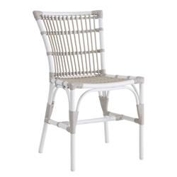 Eli Coastal Beach White and Brown Woven Aluminum Frame Outdoor Dining Chair