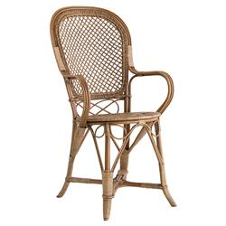Shanaya French Country Rattan Antique Brown Dining Arm Chair