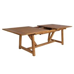 Jacob Rustic Lodge Brown Teak Outdoor Extension Table