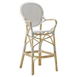 Mariam French Country White Rattan Outdoor Bar Stool