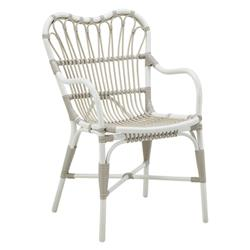 Claire Coastal Beach White and Brown Woven Aluminum Frame Outdoor Dining Chair