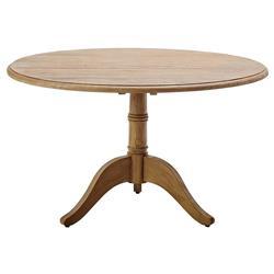 "Cali Rustic Lodge Reclaimed Teak Round Pedestal Dining Table - 47.25""W"