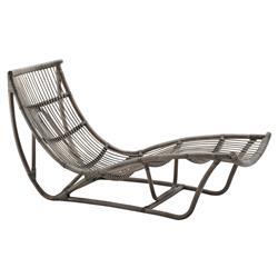 Liliana Coastal Beach Grey Rattan Chaise Lounge
