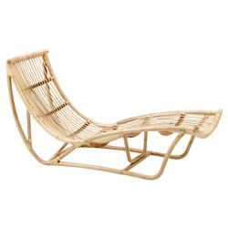 Liliana Coastal Beach Natural Rattan Chaise Lounge
