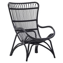 Alexis Coastal Beach Black Rattan Occasional Arm Chair