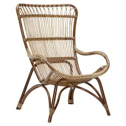Alexis Coastal Beach Brown Rattan Occasional Arm Chair