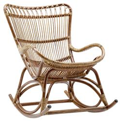 Alexis Coastal Beach Brown Rattan Rocking Occasional Chair