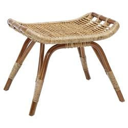 Alexis Coastal Beach Brown Rattan Stool