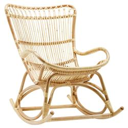 Alexis Coastal Beach Natural Rattan Rocking Occasional Chair