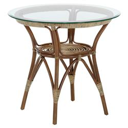 Abby French Country Brown Rattan Glass Top Round CoffeeTable
