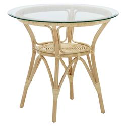 Abby French Country Natural Rattan Glass Top Round CoffeeTable