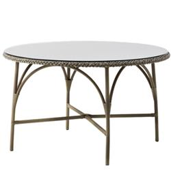 Ailsa Coastal Beach Grey Glass Top Round Outdoor DiningTable