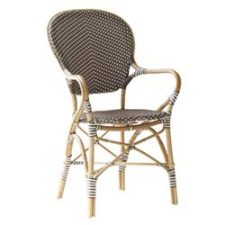 Mariam French Country Rattan Brown Outdoor Dining Arm Chair