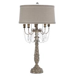 Pair La Gray Crystal Swag Antique Wood French Manor Table Lamp