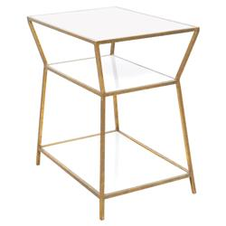 Oly Studio Astro Modern White Wood Top Gold Metal Resin Nightstand