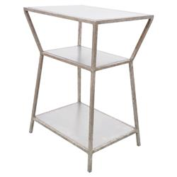 Oly Studio Astro Modern Beige Wood Top Silver Metal Resin Side End Table