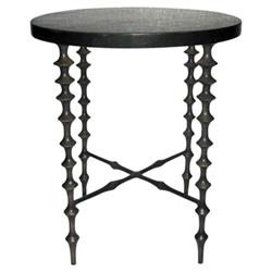 Oly Studio Ichibad Modern Round Dark Shell Top Bronze Metal Side End Table