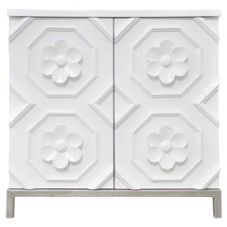 Oly Studio Tyrol Modern White Hardwood Flower Detail 2 Door Nightstand