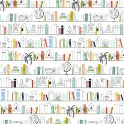 Anewall Leo Modern Classic Hand-Illustrated Library Wallpaper