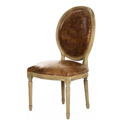 French Country Louis XVI Oval Back Leather Dining Side Chair