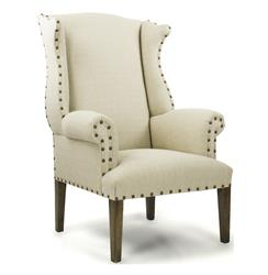 French Country Linen Nail Head Wing Back Arm Chair