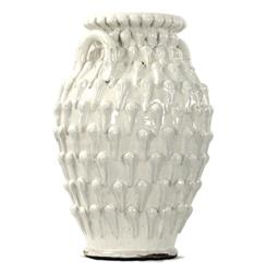 White Ceramic Coastal Beach Style Large Textured Urn | 7017 White